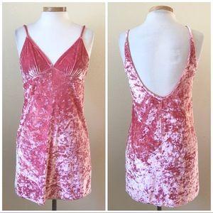 Forever 21 Pink Velvet Stretch Sleeveless Dress